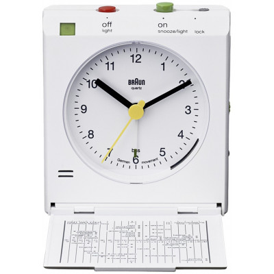 Braun BNC 005  white Reflex Control Travel Alarm Clock