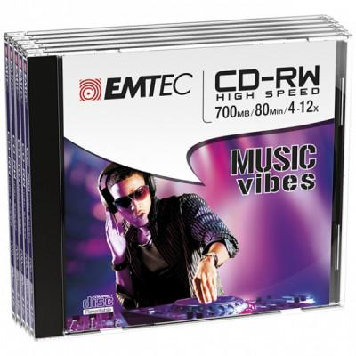 EMTEC CD-RW 700MB / 80 MIN 4-12x SLIM 5pcs JEWEL CASE