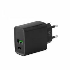 FONEX TRAVEL CHARGER 2 PORT USB & PD TYPE C 20W black